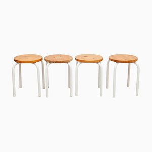 Tubax Stacking Stools with Pine Seats, 1950s, Set of 4