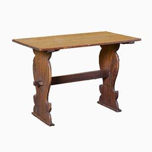 Trestle-Base Solid Oak Table