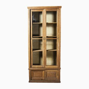Tall French Oak Glass Fronted Cabinet, 1940s