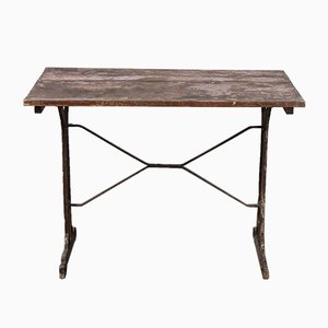 Cast Base French Metal Dining Table, 1930s
