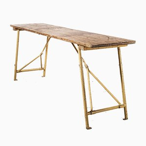 Heavy Duty French Army Trestle Dining Table, 1960s
