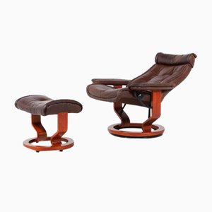 Vintage Lounge Armchair with Ottoman in Brown Leather from Ekornes