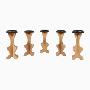 Vintage Swedish Solid Pine Stools or Bar Chairs, Set of 5
