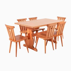 Modern Swedish Pine Dining Set, 1960s, Set of 7