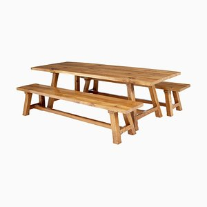 Solid Oak Dining Table and Benches by Garbo, Set of 3