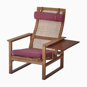 Model 244 Highback Lounge Chair in Oak & Rattan Cane by Børge Mogensen for Fredericia, 1957