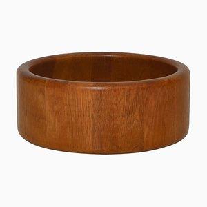 Large Scandinavian Decorative Oak Bowl by Nissen, Denmark, 1960s