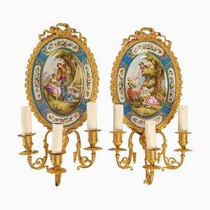 Gilt Bronze and Sèvres Porcelain Sconces, Set of 2