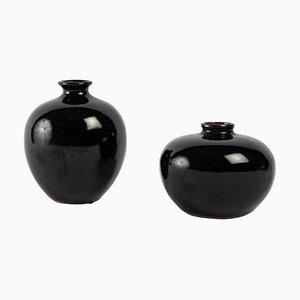 Small Black Enamelled Mirror Vases, Set of 2