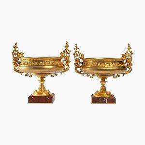 Napoleon III Bronze and Marble Cups, Set of 2