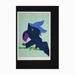 Gianni Dova, Blue Composition, Original Lithograph, 1980s