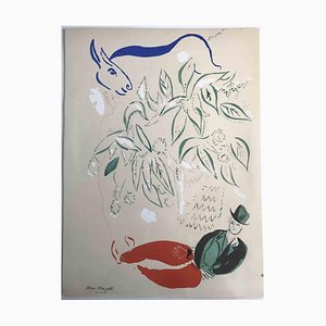 Man and Horse, Original Lithograph in the style of Marc Chagall, 1960s