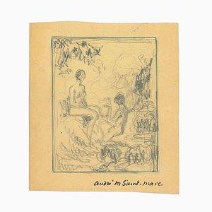 André Meaux Saint-Marc, Bather, Original Pencil Drawing, Early 20th-Century