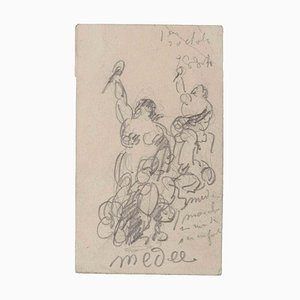 Unknown, Medée, Original Pencil Drawing, Early 20th-Century