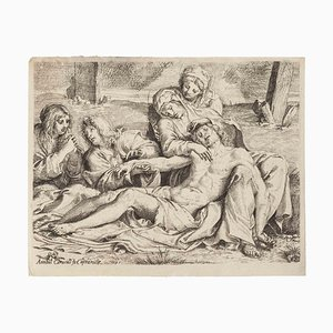 Deposition, Original Etching in the style of Annibale Carracci, 1597