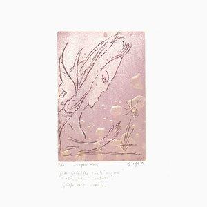 Guelfo Bianchini, Rose Angel, Original Etching, 1955