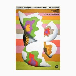 Orbis, Voyages, Vintage Polish Poster, Original Offset Print, 1973