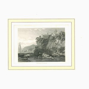 Unknown, Ancient View of the Bay of Naples, Original Lithograph, Mid-19th-Century