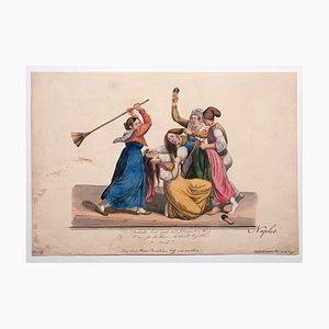 Unknown, Women Fight, Original Painting in Gouache, 19th-Century