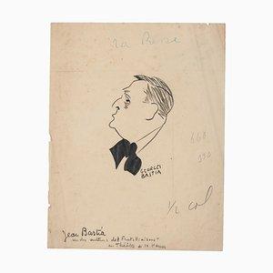 Georges Bastia, Portrait, Original Drawing, Early 20th-Century