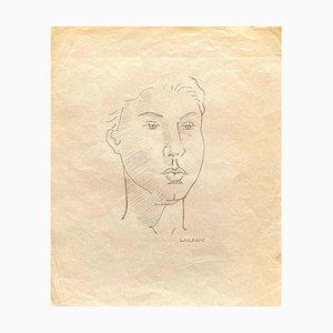 Jean-Francis Laglenne, Portrait, Original Pencil Drawing, 1950s