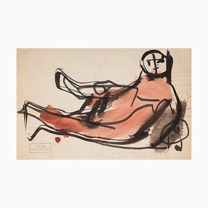 Frick Mueller, Red Creature, Original Watercolor, Mid-20th-Century