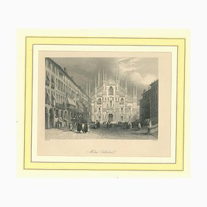 Unknown, Ancient View of the Dome of Milan, Original Lithograph, Mid-19th-Century