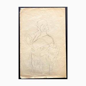 Karl Hauny, Figures, Original Drawing in Pencil, 1950s