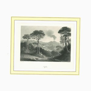 Unknown, Ancient View of Naples, Original Lithograph on Paper, 1850