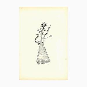 Bruno Capacci, Composition of Diodora, Original Lithograph, 1950ss