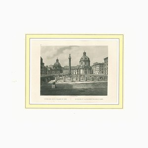 Unknown, Ancient View of the Forum of Trajan, Rome, Original Lithograph, 1850 Ca.