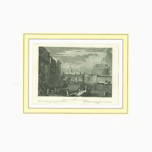 Unknown, Ancient View of Castel Sant'angelo- Original Lithograph on Paper, 1850