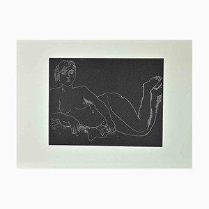 Franco Gentilini, Nude Woman on Black Background, Vintage Offset Print, 1970s
