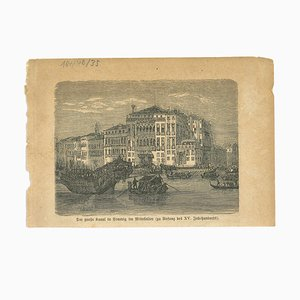 Unknown, Ancient View of Canal Grande, Venice, Original Lithograph, Early 19th-Century