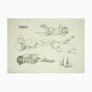 Study of Baby, Original Lithograph in the style of Cesare Maccari, Late 19th-Century