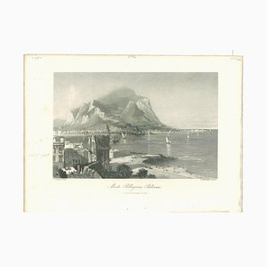 Unknown, Ancient View of Monte Pellegrino, Lithograph on Paper, Mid-19th-Century