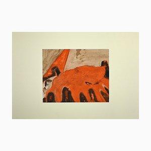 Jean Demelier, In Bed, Original Watercolor by Jean Demelier, 1968
