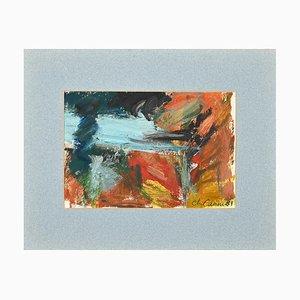 Unknown, Composition, Original Oil on Cardboard, 1989
