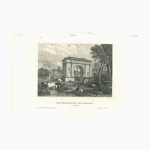 Unknown, Augustus Arch, Original Lithograph on Paper, Mid-19th-Century