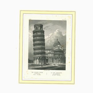 Unknown, Ancient View of the Tower of Pisa, Lithograph on Paper, Mid-19th-Century