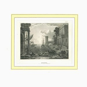 Unknown, Ancient View of Messina, Original Lithograph on Paper, Mid-19th-Century