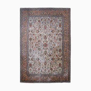 Floral Cashmere Carpet in Pure Silk with Central Medallion and Border