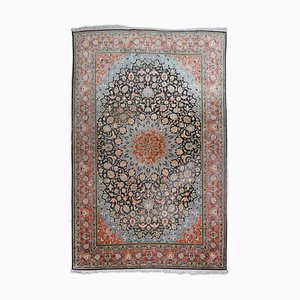 Floral Cashmere Carpet in Pure Silk with Border and Medallion