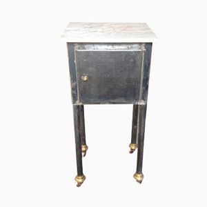 Small Industrial Table with Marble Top