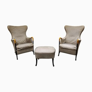 Progetti Wingback Lounge Chairs by Umberto Asnago for Giorgetti, 1980s, Set of 3