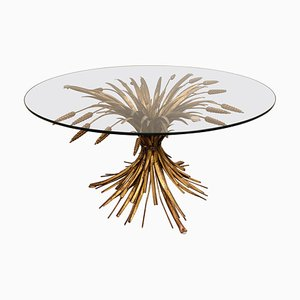 Vintage Gilt Metal Sheaf of Wheat Coffee Table from Coco Chanel, 1960s