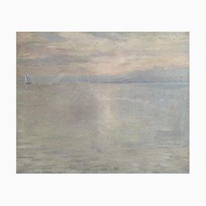 John Pierre Simonet, Voilier au coucher de soleil sur le lac Léman, 1912