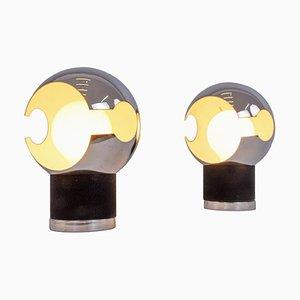 Mid-Century Italian Modern Space Age Chrome Globe Table Lamps, Set of 2