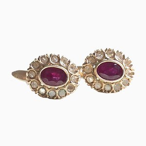 Antique 12k Gold Daisy Earrings with Rubies and Diamonds, 1940s
