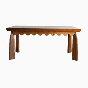 Inlaid and Carved Wood Table Attributed to Paolo Buffa, Late 1940s